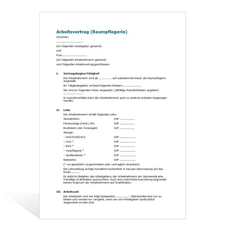 Muster Vertrag Schweiz Muster Arbeitsvertrag Raumpflegerin