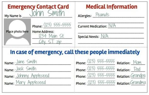List Of Emergency Information You Should About Aging Parents by Emergency Contact Card Template 2 Best Professional