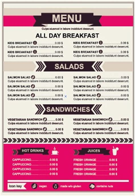 menu pricing template restaurant menu price list template vector 03 vector