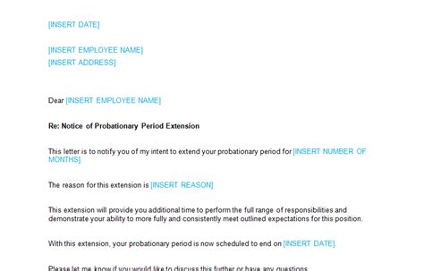 Confirmation Letter After Extension Of Probation Period Letters To Staff Page 2 Of 5 Bizorb