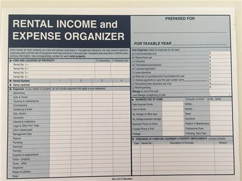 Income Tax Records Rental Income And Expense Record Keeper File Envelope