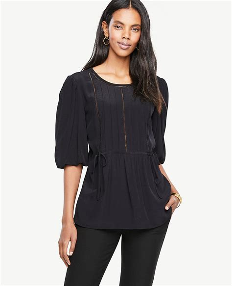Lacy Sleeve Blouse by Lyst Lacy Puff Sleeve Blouse In Black