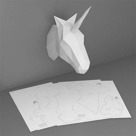 3d Paper Template unicorn 3d papercraft model downloadable diy template