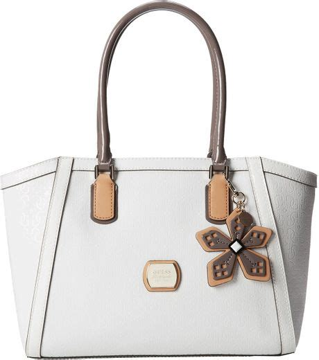 guess hula uptown carryall in beige white 2 lyst