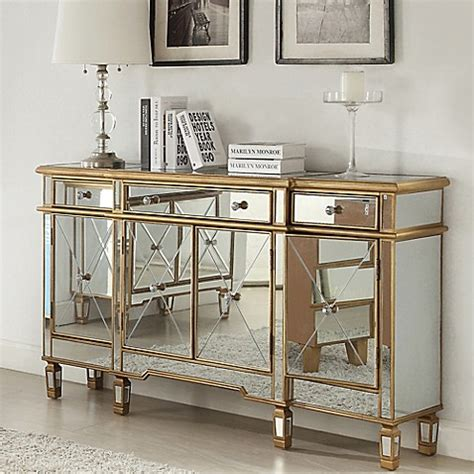 Hooker Dining Room Set Powell Gold And Mirrored 3 Drawer 4 Door Console Bed