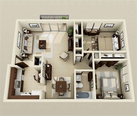 Two Bedroom Home Design 50 Plans 3d D Appartement Avec 2 Chambres