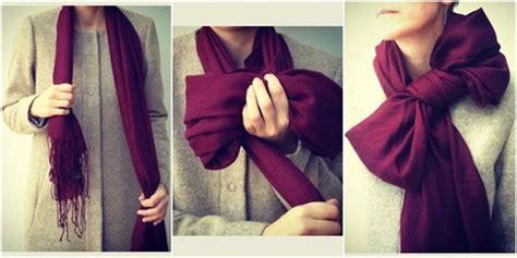 tutorial dasi pita 6 cara memakai syal di leher dengan desain unik