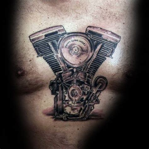 tattoo engine gallery simple black and gray style bicycle engine tattoo on chest