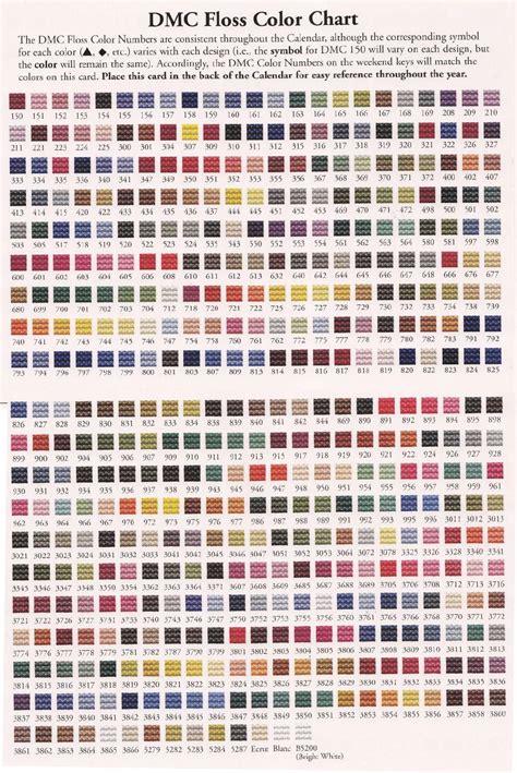 dmc floss color chart printable pdf