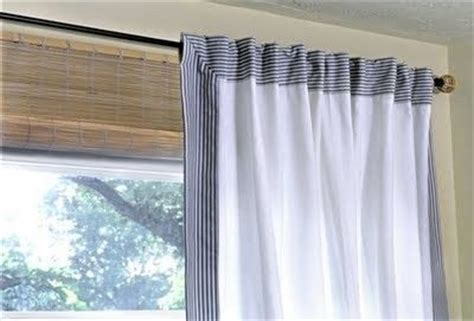 lenda curtains ikea lenda curtains trimmed with blue ticking fabric for