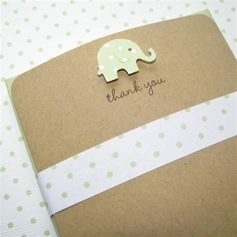 Handmade Thank You Notes - elephant baby thank you cards gender neutral baby shower