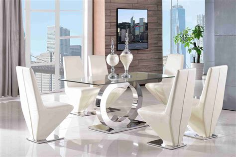 Clear Glass Dining Table And 6 Chairs Channel 160cm Steel Clear Glass Dining Table 6 Faux Leather Ivory Chairs Ebay