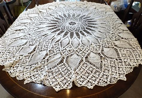 pattern tablecloths hand crocheted round tablecloth pineapple pattern 52