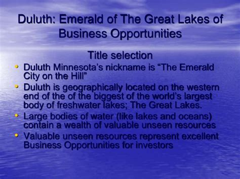 Great Lakes One Year Mba by Duluth Economic Development Policy Presentation