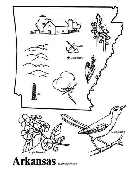 arkansas state coloring page education 1st grade