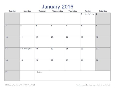 download the 2016 calendar template for word from vertex42