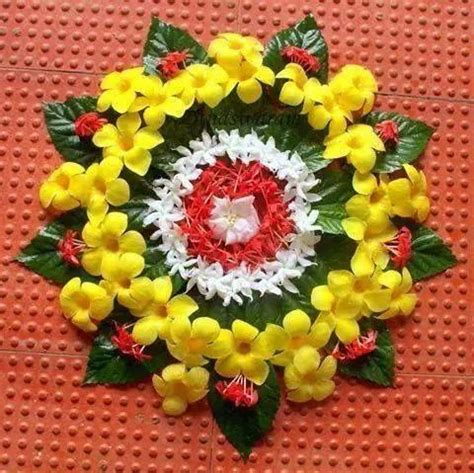 flower design rangoli pattern simple floral rangoli designs or pookalam threads