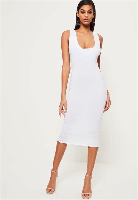 White Neck Dress missguided white jersey square neck midi dress in white lyst