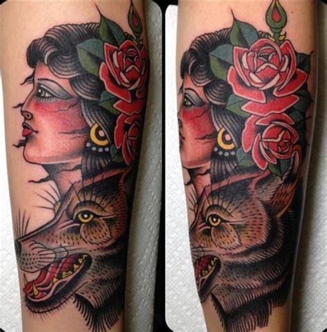 new school gypsy tattoo arm new school wolf gypsy tattoo by captured tattoo