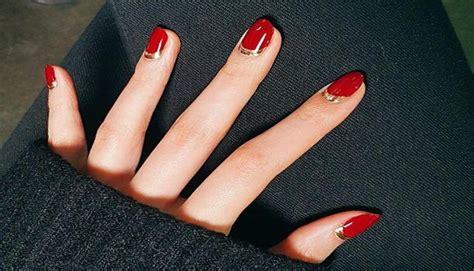 imágenes de uñas rojas con dorado 5 dise 241 os que amar 225 s para llevar una manicura en rojo