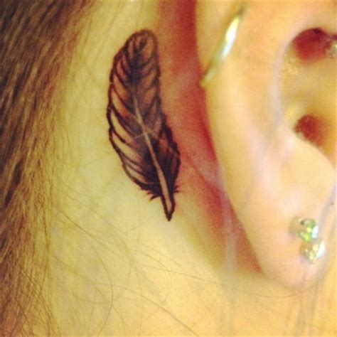 small feather tattoo behind ear pics for gt small feather tattoos ear