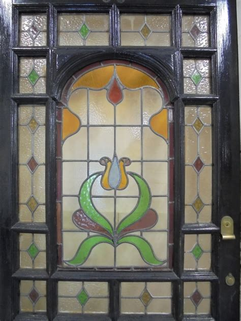 Reclaimed Stained Glass Doors Edwardian Stained Glass Door And Frame Authentic Reclamation