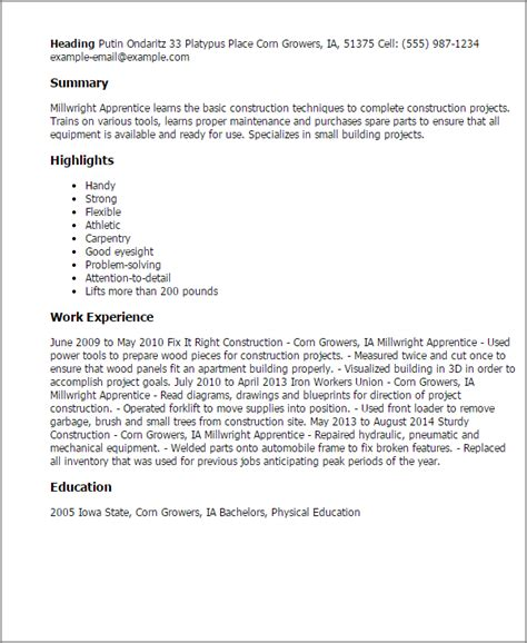 Millwright Apprentice Cover Letter by Millwright Apprentice Resume Template Best Design Tips Myperfectresume