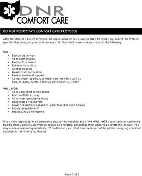 dnr comfort care download ohio do not resuscitate form for free page 2