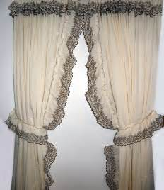 Priscilla Curtains Beige With Brown Embroidery Ruffled Priscilla Curtains 90