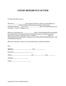 free character reference letter for court template