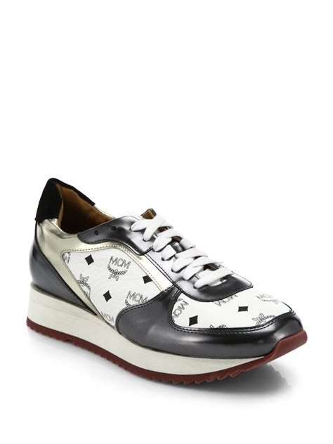 white mcm sneakers mcm white visetos logo print leather sneakers lyst