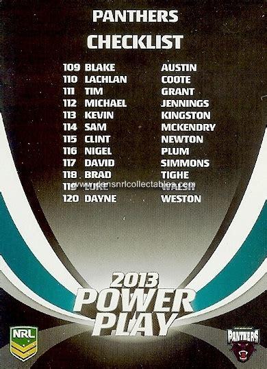 Card Power Plays 2013 esp nrl power play card no 197 checklist