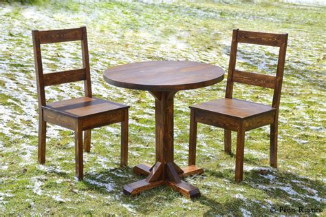 Rustic Bistro Table And Chairs Rustic Pedestal Bistro Table And Two Chair Set