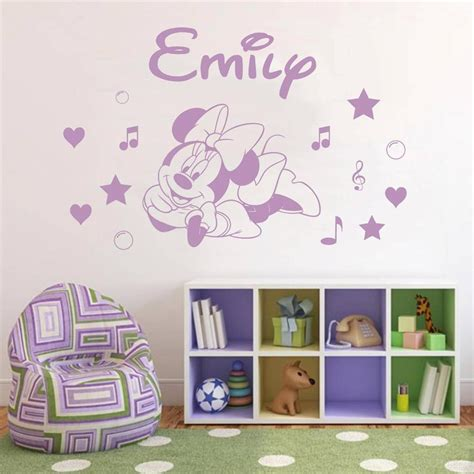 minnie mouse wall stickers minnie mouse personalized decal wall sticker home decor bedroom sst013 ebay