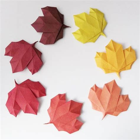 Origami Flower Leaves - origami leaf decoration in seasonal by origamipaperandmore