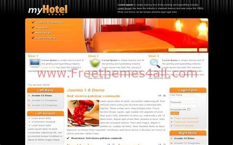 hotel theme joomla 3 free orange hotels jquery joomla theme template