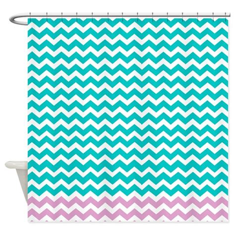 turquoise and pink curtains aqua and pink chevrons shower curtain by laughoutlouddesigns1