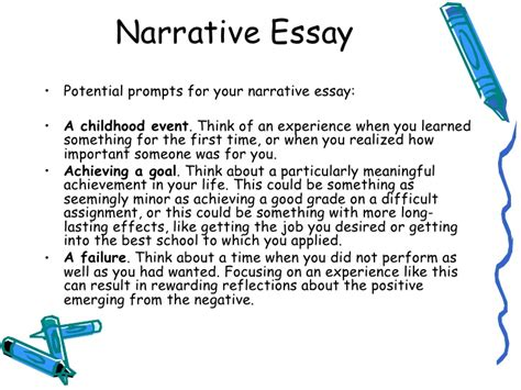 Topics To Write A Narrative Essay About by How To Write A Narrative Essay Exle Topics Customwriting