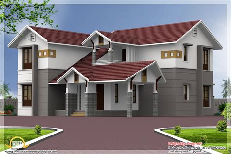home design for roof 4 bedroom sloping roof house elevation kerala home