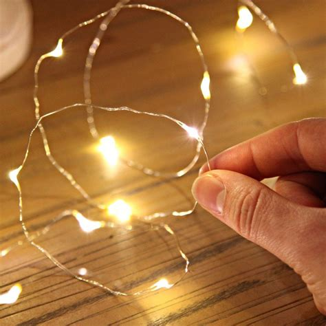 20 warm white led silver wire micro battery lights