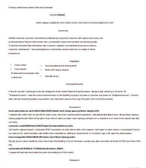 sample warehouse resume lifespanlearn info
