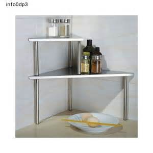 Kitchen Countertop Organizer Storage Shelf Stainless Steel Corner Rack Kitchen Bathroom Counter Organizer Ebay