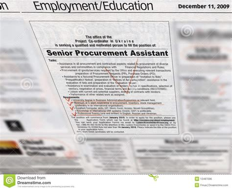 employment section of newspaper jobs employment section in newspaper royalty free stock