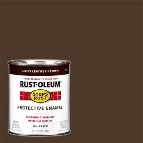 rust oleum stops rust 1 qt gloss leather brown protective enamel paint 7775502 the home depot