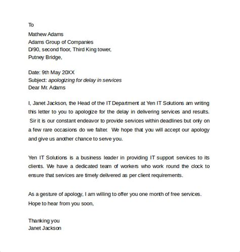 business letter apology to client sle professional apology letter 10 free