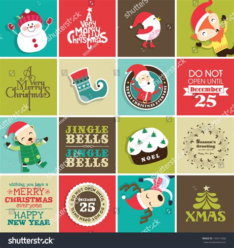 Gift Card Stickers - christmas design elements for greeting card gift tags and stickers stock vector
