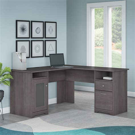 amazon l shaped computer desk amazon com cabot l shaped computer desk in gray