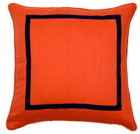 Orange And Navy Throw Pillows by Orange And Navy Pillow Decorative Pillows By Furbish