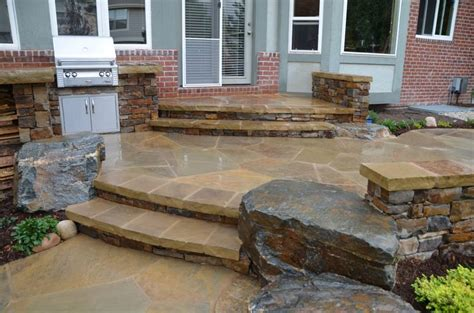 Flagstone Patio Steps by Flagstone Patio With Stairs Home