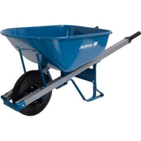jackson 6 cu ft heavy seamless steel wheelbarrow